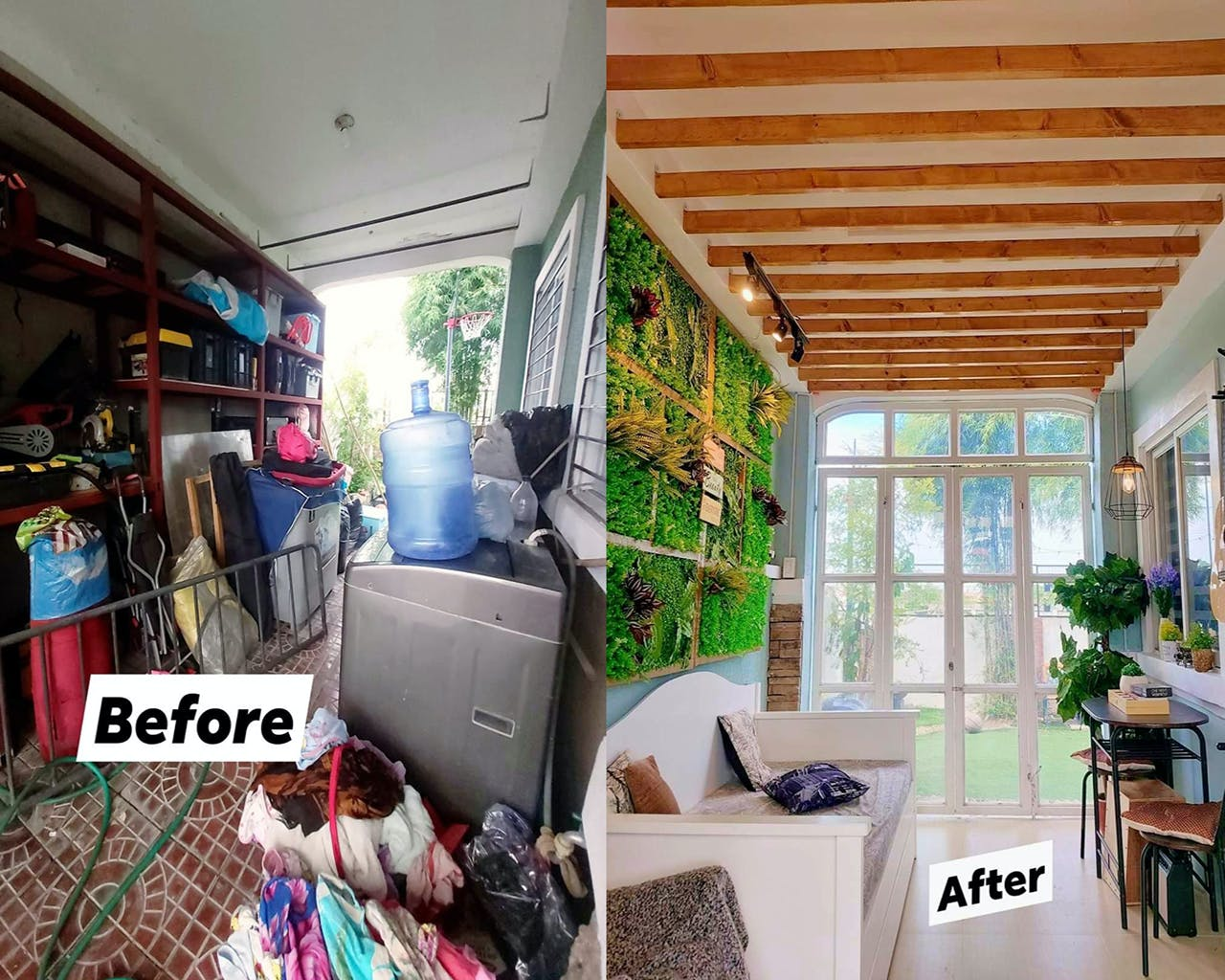 Cluttered Garage Is Transformed Into A Sunny Lounge For This Family With Four Kids